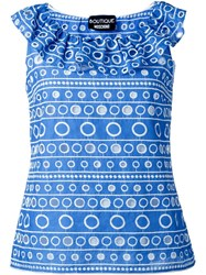 Boutique Moschino Embroidered Frill Tank Top Blue