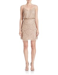 Adrianna Papell Beaded Blouson Tank Dress Taupe