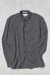 Urban Outfitters Uo Micro Check Grindle Button Down Shirt Black