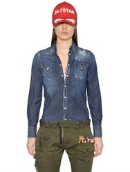Dsquared Distressed Cotton Denim Western Shirt