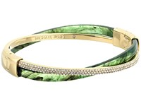 Michael Kors Autumn Luxe Acetate And Stainless Cross Hinged Bangle Bracelet Gold Green Bracelet