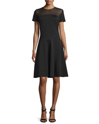 Halston Short Sleeve Sheer Yoke Cocktail Dress Black