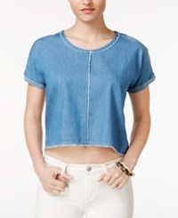 Velvet Heart Meadow Raw Edge Crop Top Blue