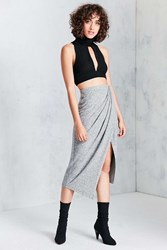 Silence And Noise Nadia Cozy Wrap Midi Skirt Charcoal
