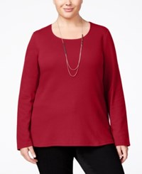 Karen Scott Plus Size Scoop Neck Top Only At Macy's New Red Amore