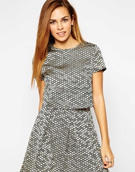 Girls On Film Sequin Effect Box Top Gold