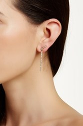 Ariella Collection Linear Crawler Drop Earrings White