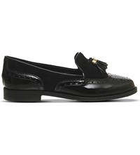 Office Ringo Leather And Suede Tassel Loafers Black Patent Suede
