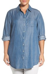 Foxcroft Plus Size Women's Tencel Denim Tunic