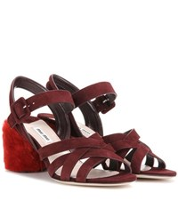 Miu Miu Suede Sandals With Shearling Covered Heel
