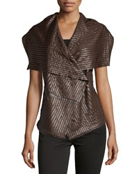Neiman Marcus Faux Leather Striped Vest Chocolate