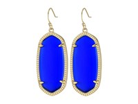 Kendra Scott Elle Earring Gold Cobalt Cats Eye Earring Blue