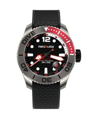 Red8usa Dive Automatic Titanium And Rubber Strap Watch Red Black Red