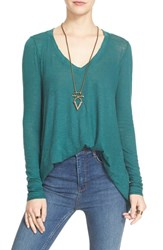 Free People Women's 'Anna' Burnout High Low Tee Turquoise