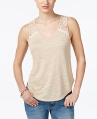 Miss Me Lace Detail Tank Top Taupe Beige