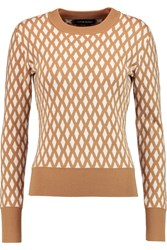 Jonathan Saunders Jodie Merino Wool And Cotton Blend Sweater Brown