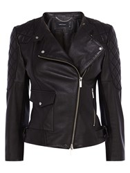 Karen Millen Leather Quilted Sleeve Biker Jacket Black