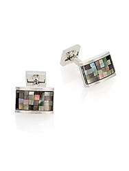 Ike Behar Rhodium Plated Brass And Mother Of Pearl Mosaic Cuff Links Silver