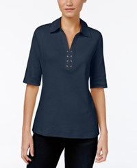 Karen Scott Elbow Sleeve Lace Up Top Only At Macy's Intrepid Blue