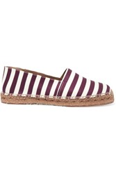 Dolce And Gabbana Striped Canvas Espadrilles White