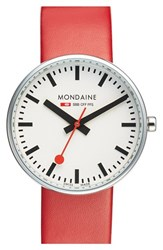 Men's Mondaine ' Red White Evo Lution Sbb Mini Giant' Leather Strap Watch 35Mm