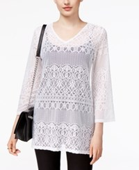 Alfani Petite Lace Tunic Only At Macy's Bright White