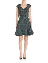 Zac Posen Floral Print Cocktail Dress Teal Midnight