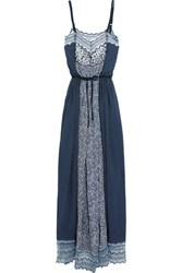 Chloe Lace Trimmed Printed Cotton Blend Crepe De Chine Maxi Dress Navy