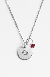 Women's Nashelle Semiprecious Birthstone Sterling Silver Zodiac Mini Disc Necklace Cancer
