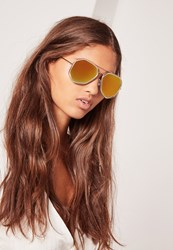 Missguided Geometric Metal Frame Sunglasses Gold