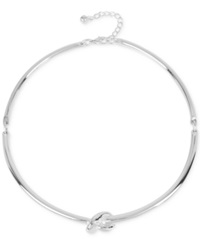 Touch Of Silver Love Knot Collar Necklace In Silver Plated Metal
