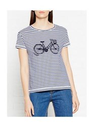 Tommy Hilfiger Bike Placement Striped T Shirt White Blue
