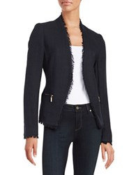 Ivanka Trump Tweed Open Front Blazer Navy