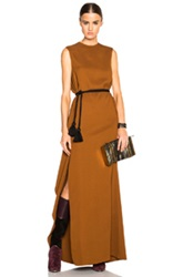 Lanvin Soft Ruffle Slit Maxi Dress In Brown