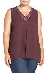 Vince Camuto Plus Size Women's Lace Trim V Neck Sleeveless Blouse