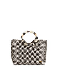 Capelli Of New York Cappelli Beaded Geometric Satchel Bag Black Natural