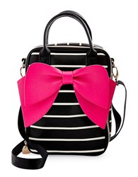 Betsey Johnson Bowstatic Lunch Tote Black Stripe
