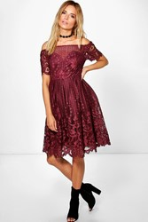 Boohoo Zoe Lace Bardot Prom Dress Wine