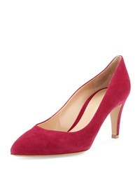 Gianvito Rossi Suede Mid Heel 70Mm Pump Flamingo Pink