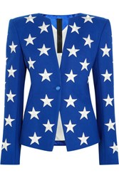 Gareth Pugh Embroidered Wool Blend Blazer Royal Blue