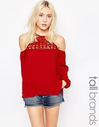 Influence Tall Cheesecloth Cold Shoulder Top With Crochet Insert Chilli Red