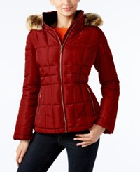 Calvin Klein Faux Fur Trim Hooded Puffer Coat Dark Red