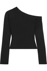 Solace London Kelsey One Shoulder Stretch Knit Top Black