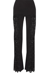 Jonathan Simkhai Guipure Lace Paneled Crepe Flared Pants Black