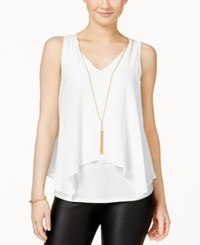 Amy Byer Bcx Juniors' Flyaway Front Tank Top With Necklace Off White