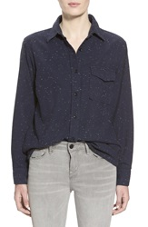 Earnest Sewn 'The Pence' Boy Shirt Navy Speck
