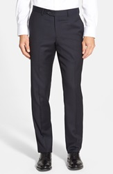 Nordstrom Flat Front Check Wool Trousers Navy
