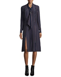 Frame Le Shirt Tie Silk Dress Navy Vintage Stripe