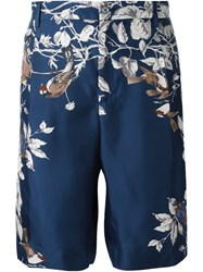 Dolce And Gabbana Bird Print Deck Shorts Blue