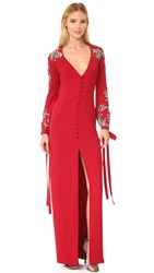 Monique Lhuillier V Neck Gown With Bow Tie Cuffs Cherry